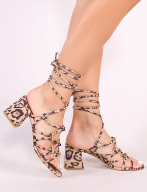 Freya Knotted Strappy Block Heeled Sandals in Leopard Print