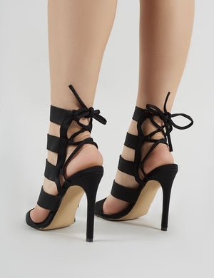 Harper Strappy Stiletto Heels in Black