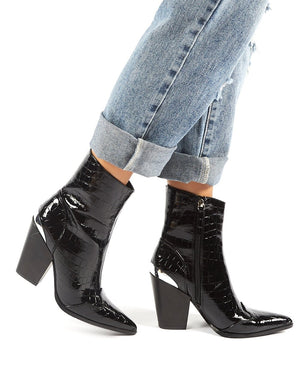Heidi Black Patent Croc Block Heeled Western Ankle Boots