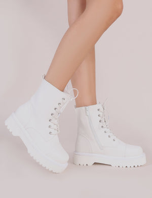 Cravin Lace Up Hiker Ankle Boots in White