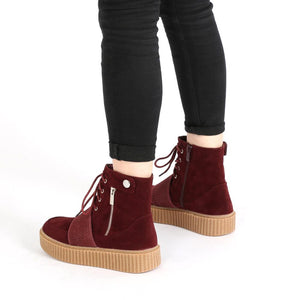 Christa Strap Detail Hi Top Creepers in Bordeaux Faux Suede