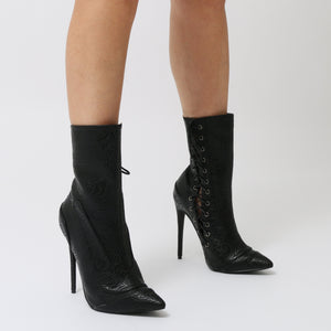 Regal Lace Up Side Embossed Ankle Boots in Black