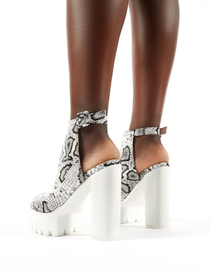 Jada Cleated Platform Block Heels in Snakeskin