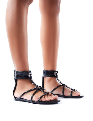 Justice Black Croc Strappy Sandals