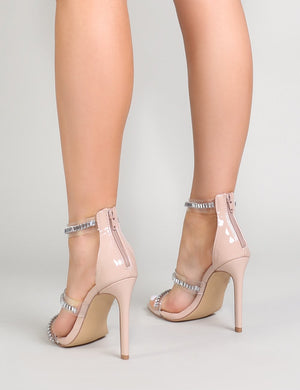 Kali Perspex and Diamante Heels in Nude