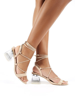 Kiwi Nude Lace Up Perspex Block Heels