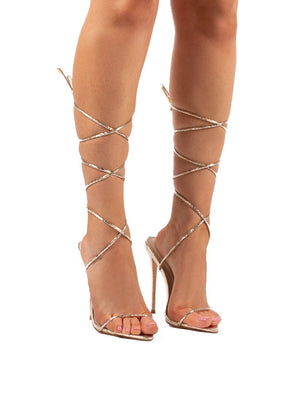 Lush Gold Lace Up Strappy Stiletto Heels