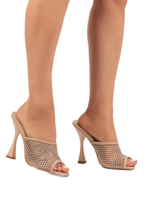 Marni Nude Diamante Fishnet Mule