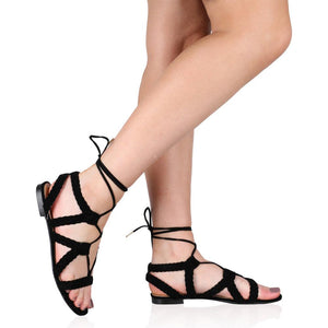 Joey Flat Gladiator Sandals in Black Faux Suede