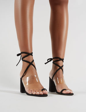 Mia Lace Up Block Heeled Sandals in Black Faux Suede