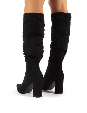 Mine Black Suede Knee High Boots