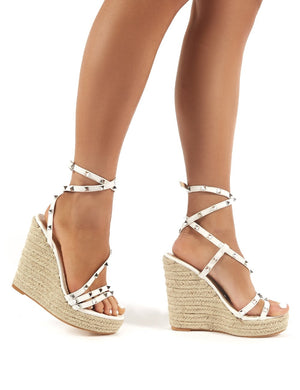 Monaco Wide Fit Whtie Espadrille Heeled Sandals