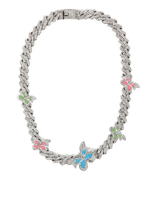 BUTTERFLY NECKLACE SILVER MULTI