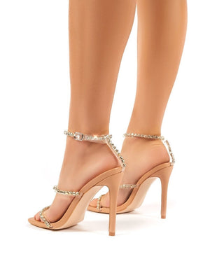 Heartbreak Strappy Diamante Nude High Heels