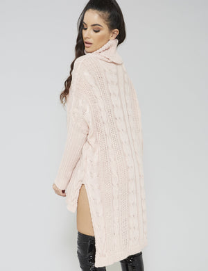 Pink High Neck Cable Knitted Dip Hem Dress