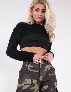 Black Fluffy Super Crop Knitted Jumper