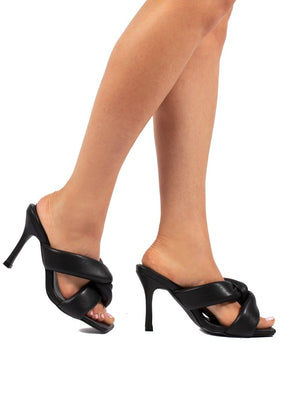 Peachy Black Padded Twist Heels