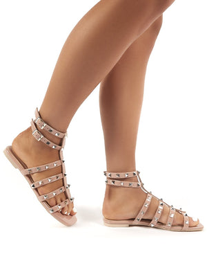 Publicity Nude Stud Detail Strappy Flat Sandals