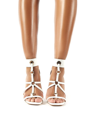 Sahara White Patent Strappy Stiletto Heels
