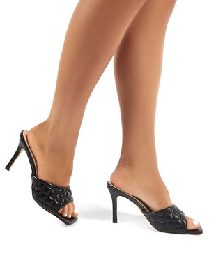 Romi Black PU Quilted Heeled Mules