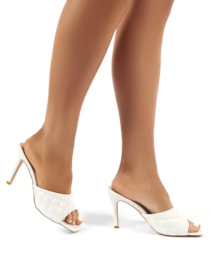 Romi White PU Quilted Heeled Mules