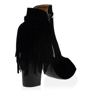 Amira Ankle Boots in Black Faux Suede
