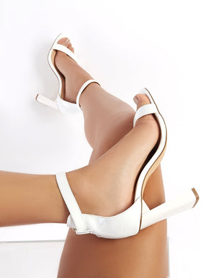 LISSY RODDY x PD Roxy White Patent Barely There Heels