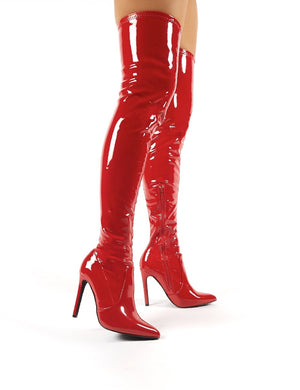 Ruthless Red Patent Over the Knee Boots