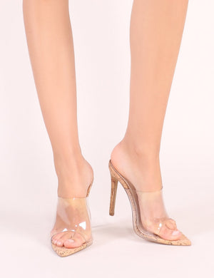 Shook Perspex Heel Mules With Cork heel
