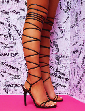 Sincere Black Extreme Lace Up Stiletto Heels