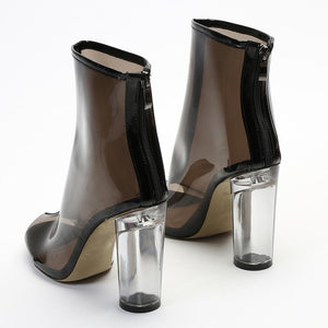 Star Perspex Heel Ankle Boots in Smoke