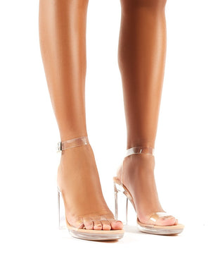 Steal Nude Faux Suede Perspex Barely There Heels