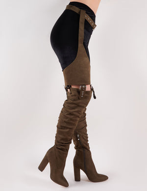 Sterling Belted Over the Knee Boots in Khaki Faux Suede
