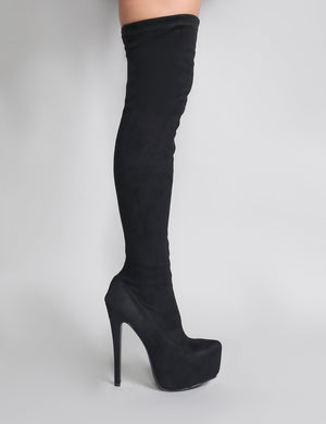 Kellie Platform Over The Knee Boots in Black Faux Suede