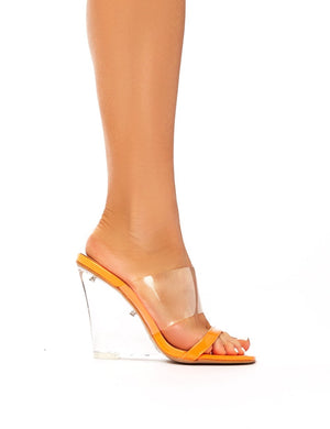 Fodera Neon Orange Patent Perspex Wedge Heeled Mules