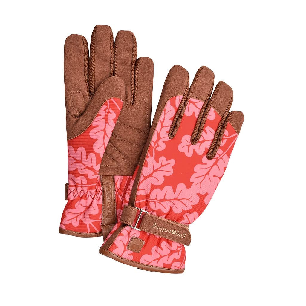 Pink Oak Leaf leather glove