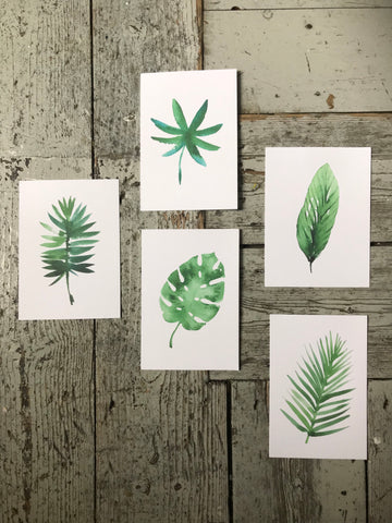 Set of 5 botanical leaf prints -A6