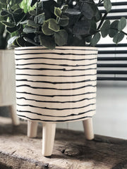 monochrome planter with feet