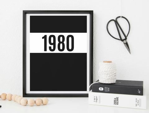 Personalised Year - monochrome print