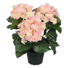 Faux Hortensia in pot - pale pink