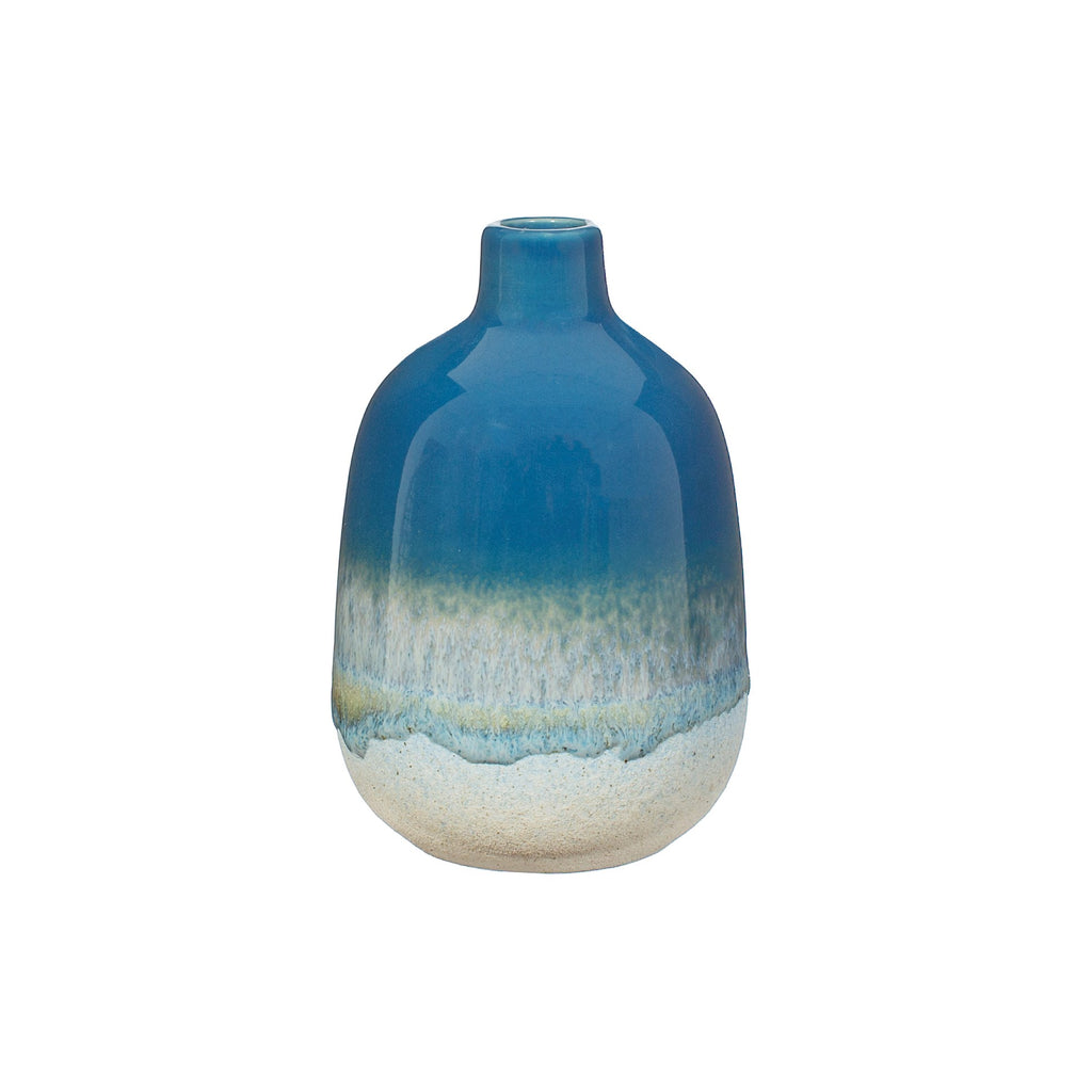 Glazed blue bud vase