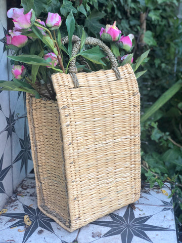 Reed basket bag