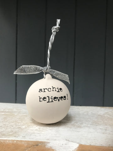 Personalised Hand stamped ceramic bauble