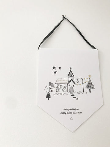 Christmas village Pennant banner hanging print