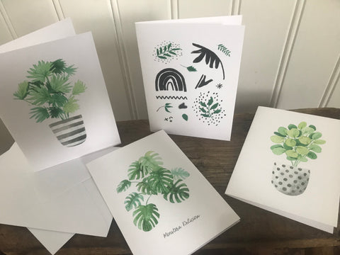 Set of 4 botanical cards