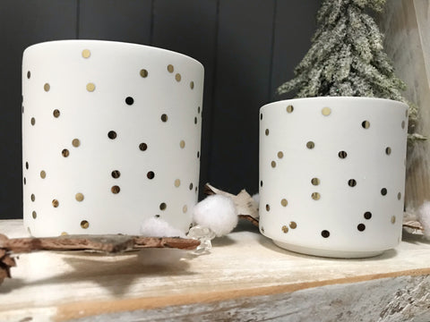 Porcelain gold dot candle holder - set of 2