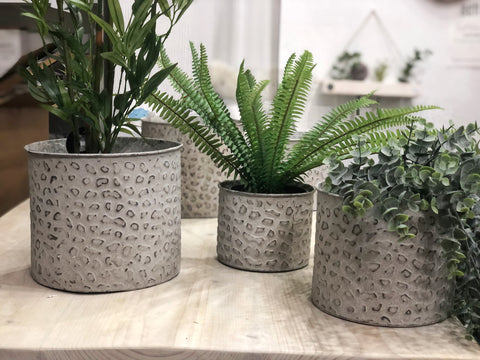 Leopard print metal planters - 3 sizes