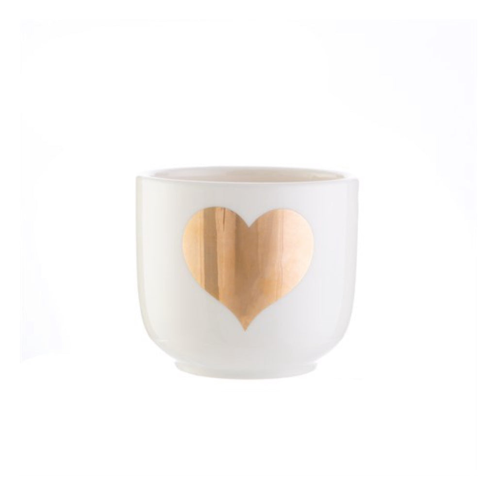 Gold heart mini planter