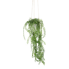Faux hanging pearl plant in concrete pot