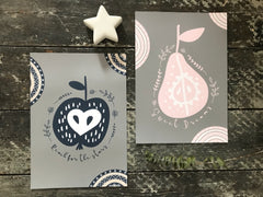 Sweet dreams pear print - pink & grey